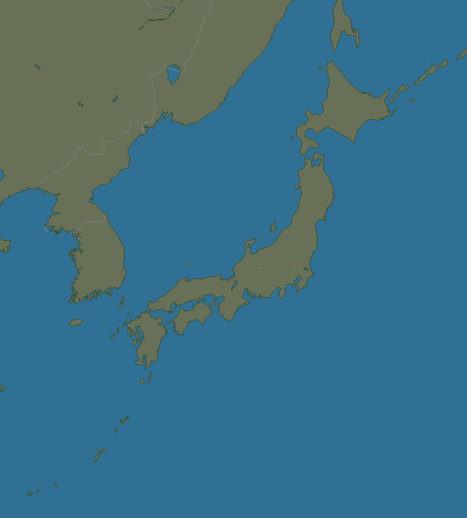 Lightning map Japan 2019-09-22 (Animation)