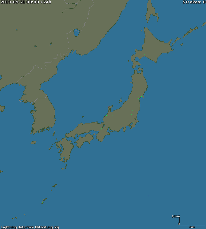 Carte de la foudre Japan 21/09/2019