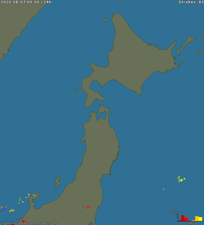 Lightning map East Japan1 2020-08-07